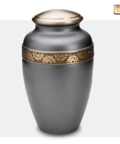 Premium Urn mat grijs met gouden bloemdecoratie A902