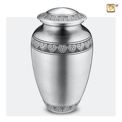 Premium Urn mat zilver met bladgravure A210
