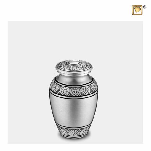 Premium Urn mat zilver met bladgravure K210