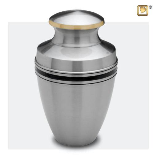 Premium Urn mat zilver met zwarte band A800