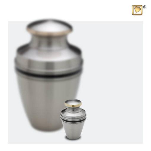Premium Urn mat zilver met zwarte band A800 set
