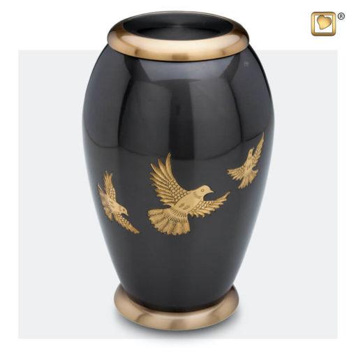 Premium Urn met vogels antraciet grijs met goudkleurige vogels A506