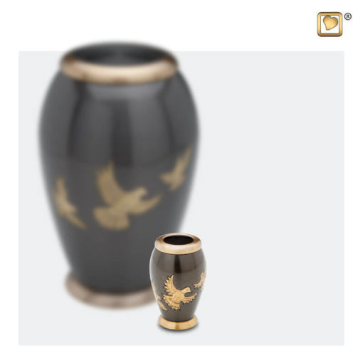 Premium Urn met vogels antraciet grijs met goudkleurige vogels A506 set