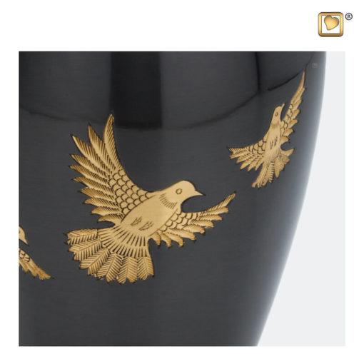 Premium Urn met vogels antraciet grijs met goudkleurige vogels A506 zoom