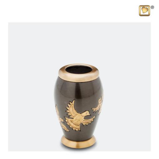 Premium Urn met vogels antraciet grijs met goudkleurige vogels K506