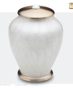 Premium Urn wit met geborstelde gouden messing A522