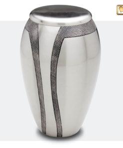 Premium urn mat zilver met donkergrijze decoratie A505