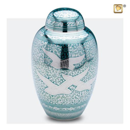 Premium urn vogeldecoratie zilver met groen A227