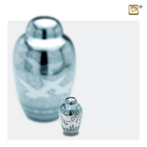 Premium urn vogeldecoratie zilver met groen A227 set