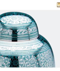 Premium urn vogeldecoratie zilver met groen A227 zoom