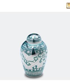 Premium urn vogeldecoratie zilver met groen K227