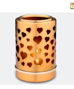 Premium urn waxinelichthouder goud met vlinders T710