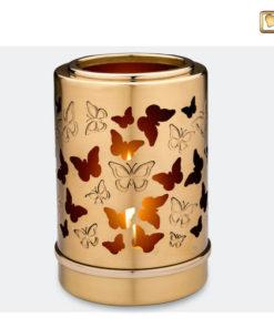 Premium urn waxinelichthouder goud met vlinders T711