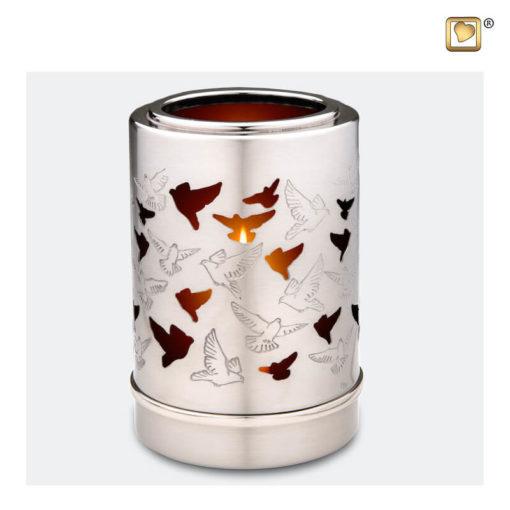 Premium urn waxinelichthouder zilver met vogels T712