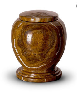 Marmeren urn bruin met witte tinten