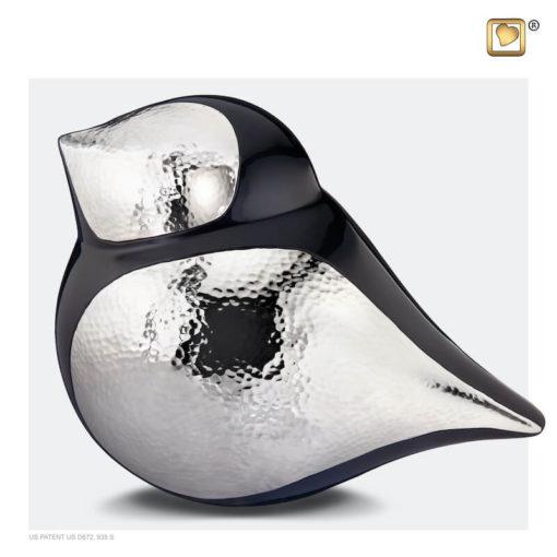 Soulbird urn vogel mat zwart met glanzend zilver A560