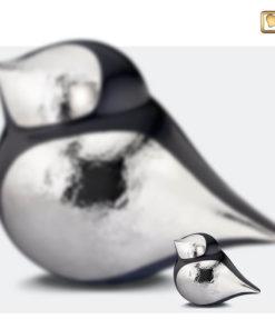 Soulbird urn vogel mat zwart met glanzend zilver A560 set