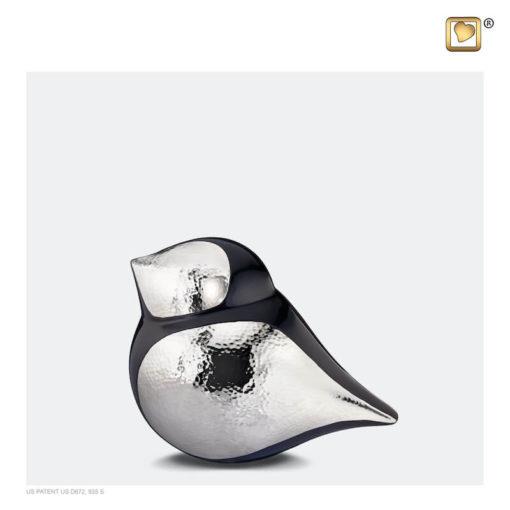 Soulbird urn vogel mat zwart met glanzend zilver K560