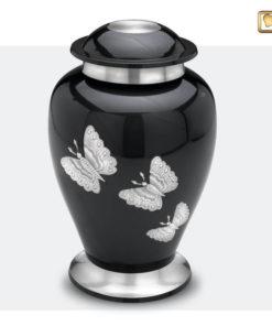 Urn met vlinders antraciet grijs met zilverkleurige vlinders A242