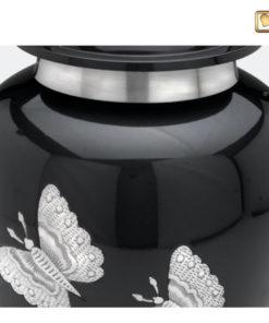 Urn met vlinders antraciet grijs met zilverkleurige vlinders A242 zoom