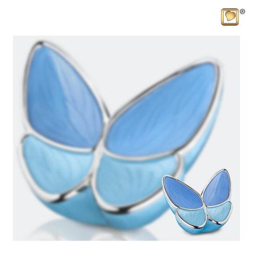 Vlinder urn blauw A1041 set