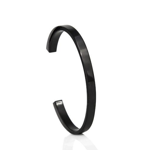 Edelstalen stijve zwarte armband
