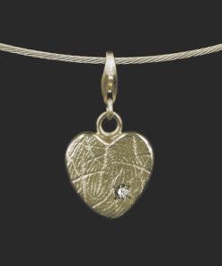 Gouden hanger met vingerafdruk en zirkonia steen