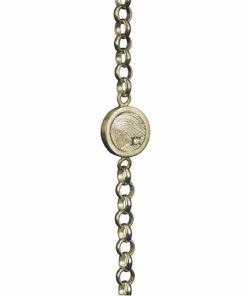 Gouden armband, kettinkje met ronde vingerafdruk en pave gezette zirkonia steen