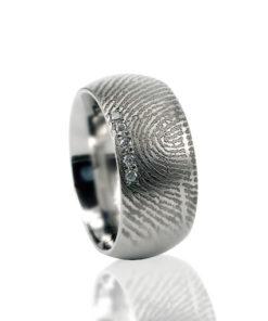 Edelstalen ring met vingerafdruk en 5 pave gezette zirkonia stenen