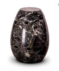Marmeren urn, zwart met witte tinten