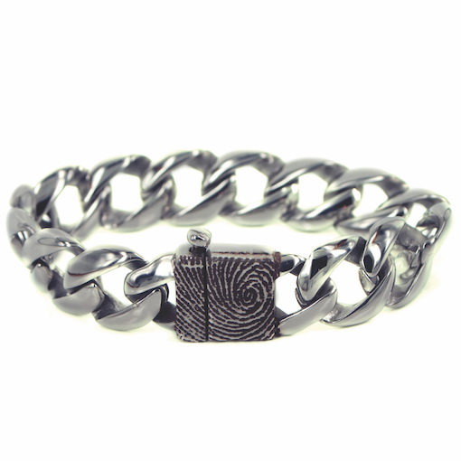Zilveren schakelarmband met vingerafdruk