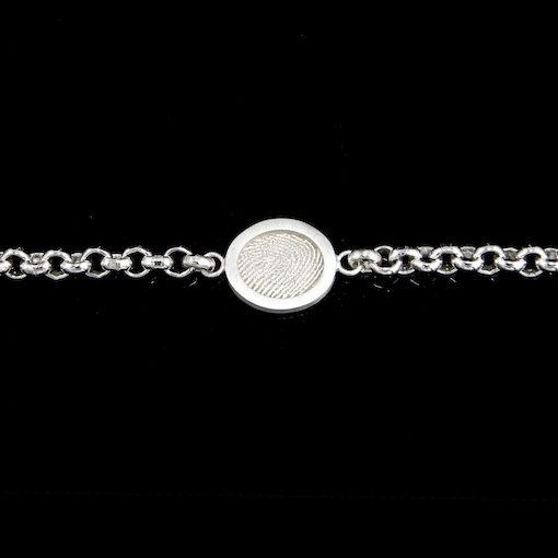Zilveren schakelarmband, plaat met vingerafdruk