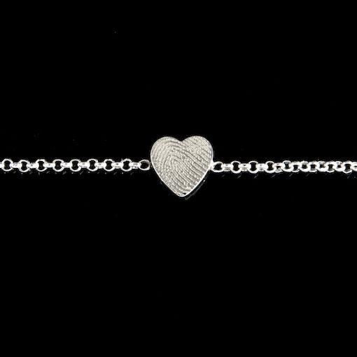 Zilveren schakelarmband, hart met vingerafdruk