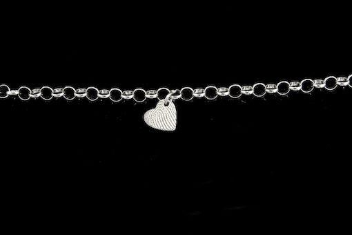 Zilveren armband met hanger, hartvorm
