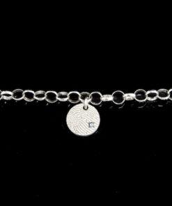 Zilveren armband met hanger en vingerafdruk, rond met zirkonia steen