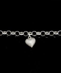 Zilveren armband met hanger en vingerafdruk, hartje