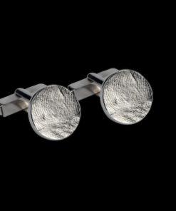 Zilveren manchetknopen met vingerafdruk, rond