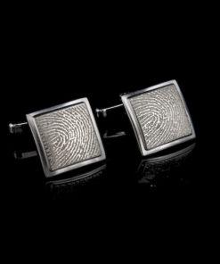 Zilveren manchetknopen met vingerafdruk, vierkant