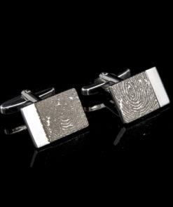 Zilveren manchetknopen met vingerafdruk, rechthoekig