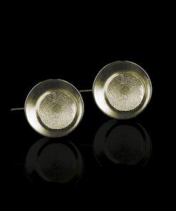 Zilveren oorbellen met vingerafdruk, rond