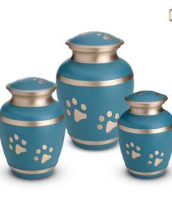 LoveUrn dieren, blauw met lichtgoudkleurige band en dierenpootjes