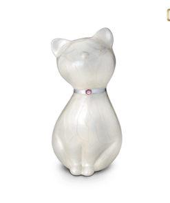 LoveUrn dieren, parelmoerkleurige kat met Swarovski element