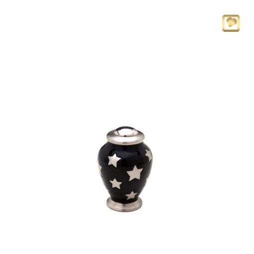 LoveUrn, glanzend zwart met zilverkleurige voet en deksel