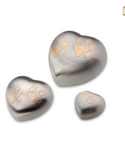 LoveUrn dieren hart, zilveren met goudkleurige dierenpootjes