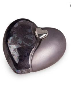 Keramische urn, grijs/lichtgrijs hart met magnetisch afneembaar zilveren hart