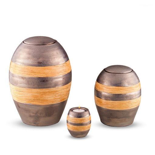 Keramische urn, Grijs met oranje gekleurde decoratie banden – Kleine urn