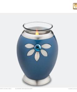 Love urn waxinelichthouder blauw met swarovski-element T271