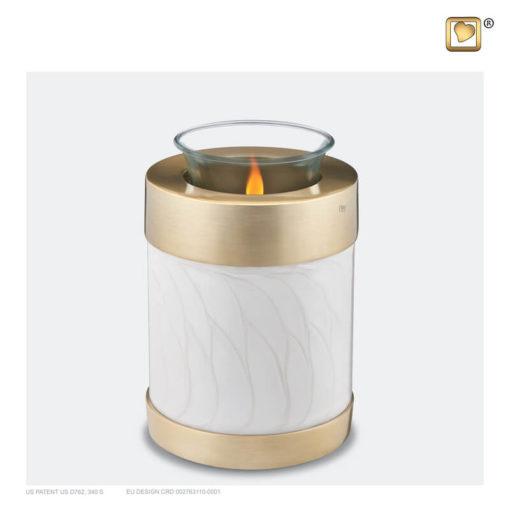 Love urn waxinelichthouder parelkleur met gouden rand T653