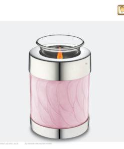 Love Urn waxinelichthouder roze met zilver T667