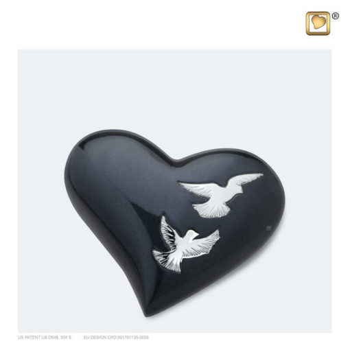 Mini urn hart met vogels antraciet met zilver H270